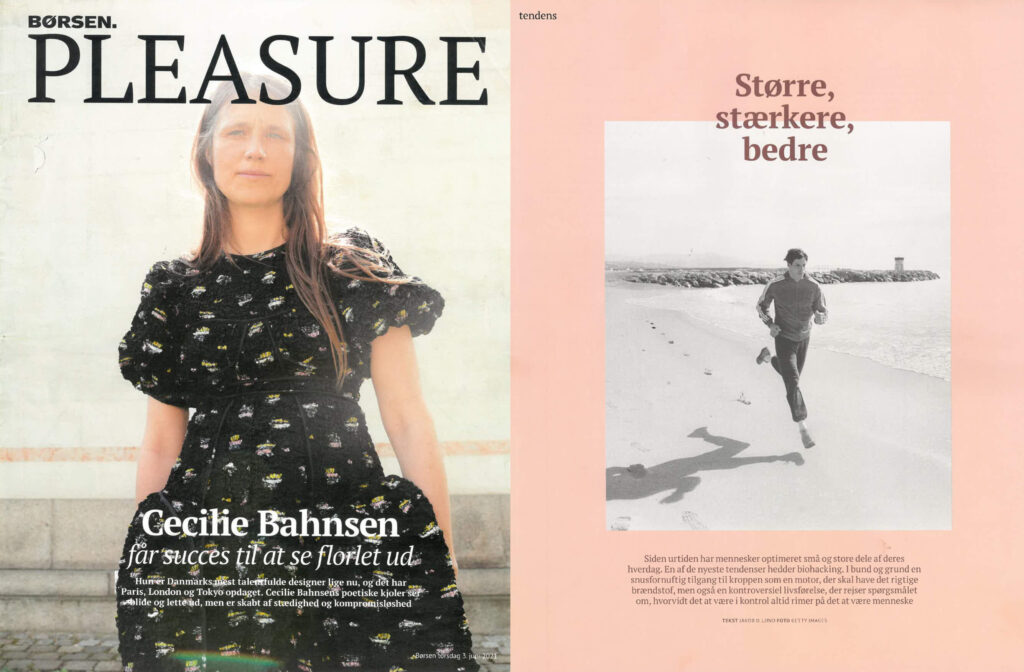 Cover of Borsen Pleasure magazine with a woman, on the left. On the right, cover of the article with a man running at the beach