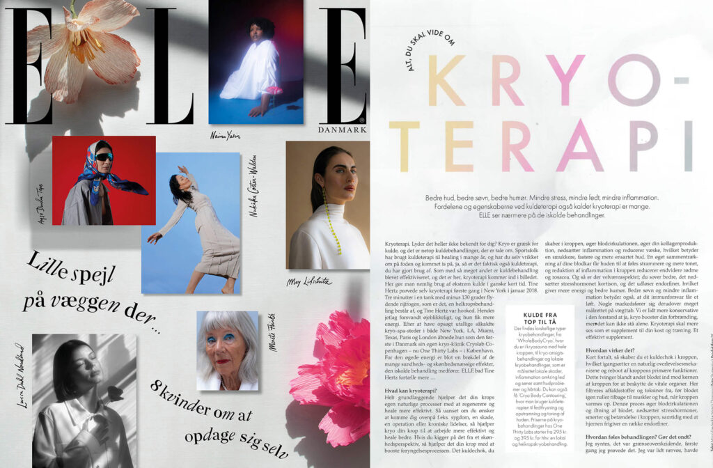 Cover of Elle magazine picturing different women, on the left. On the right, page of the article about Cryotherapy
