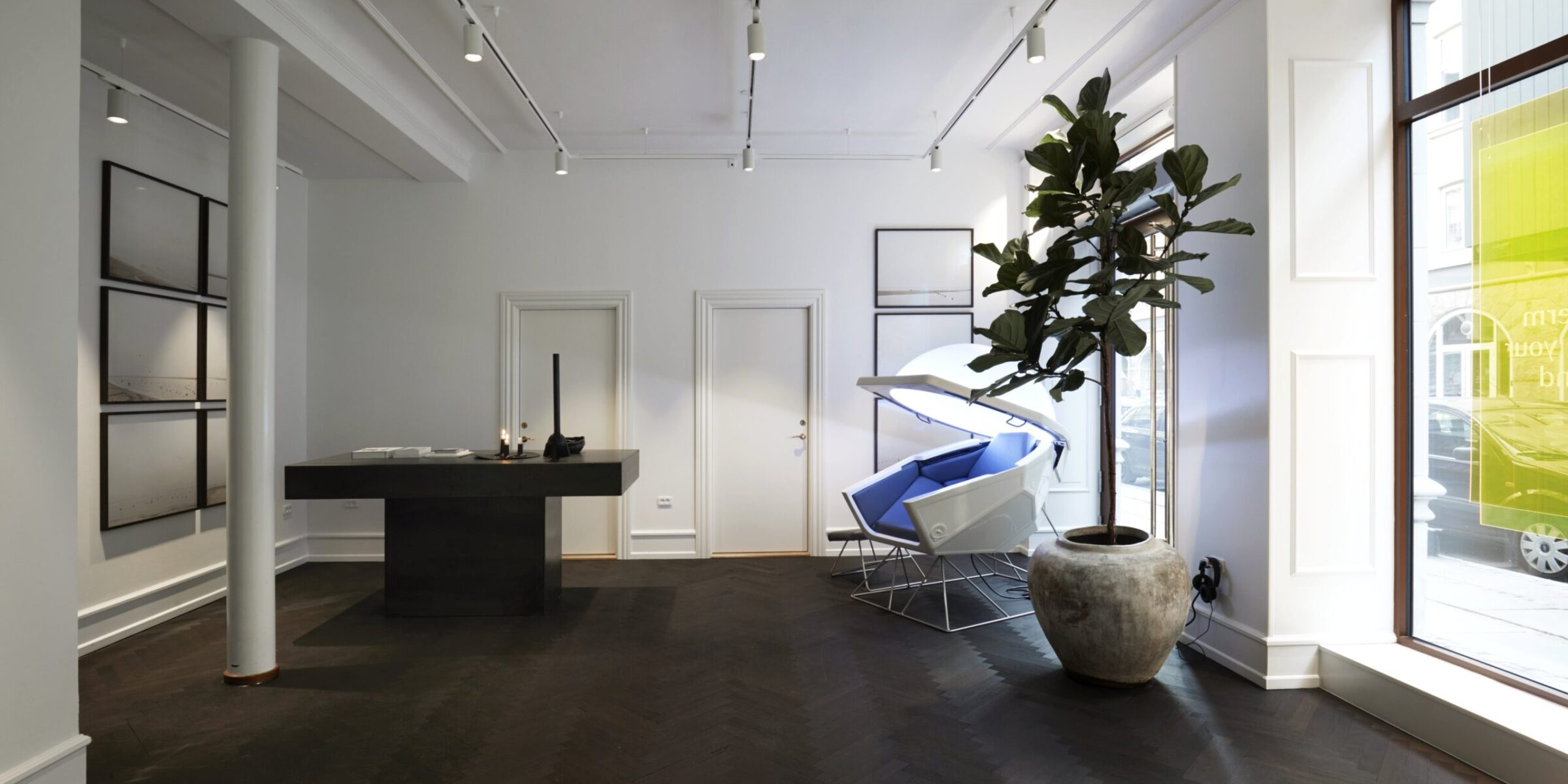 Meditation Pod, big black table and plant in a room of One Thirty Labs studio