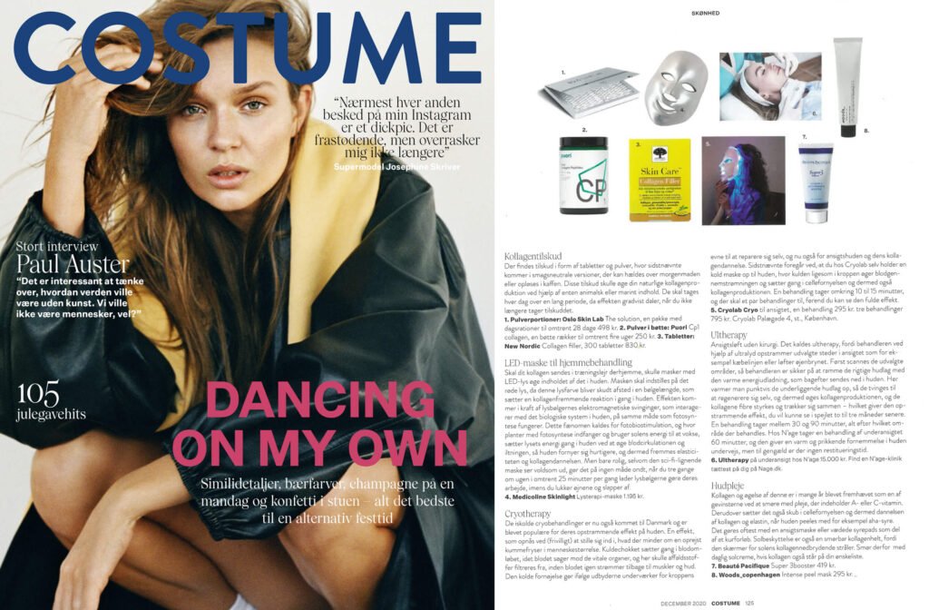 Woman on the cover of Costume magazine, on the left. On the right, thumbnails of selfcare products and descriptive text.